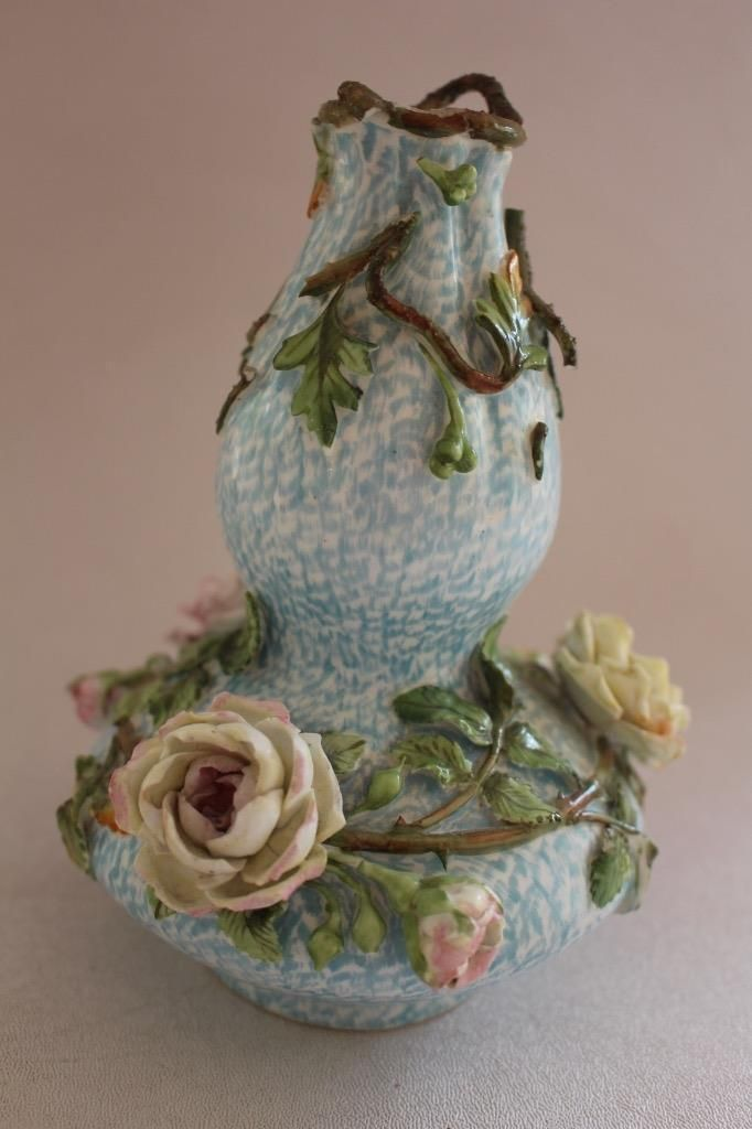 Антикварная цветочная инкрустированными ваза майолика | eBay