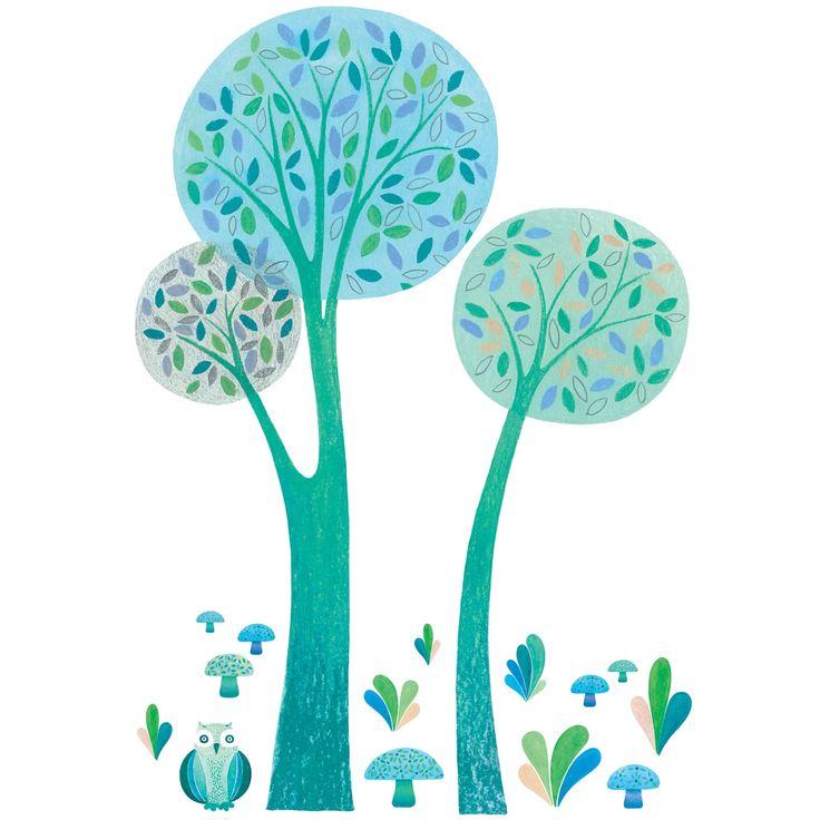 Sticker spécifique arbres verts, bleus xxl by Oreli Gouel : Lilipinso - Stickers nature - Berceau Magique