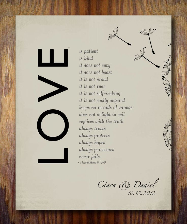 Wedding Anniversary Gifts For Husband: 1st Wedding Paper Anniversary Gift Print, 1 Corinthians 13