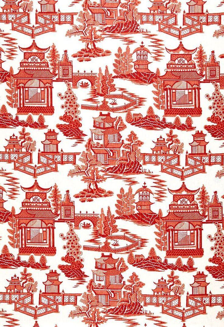 Schumacher Chinoiserie Pagoda Toile Linen Fabric 10 Yards