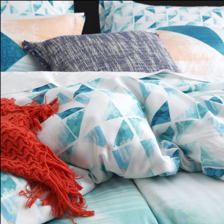 LOGAN & MASON - Neo Teal Quilt Cover Set #teal #blue #decor #bedroom #pattern #duvet #inspiration #geometric #summer