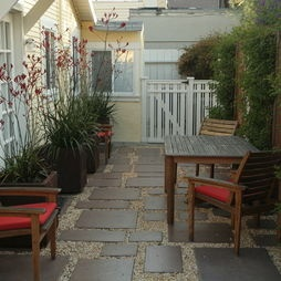 small  backyard. like the flooring and pots