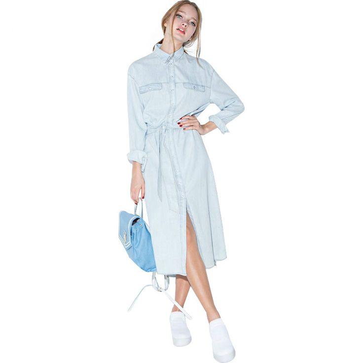 Vintage Denim Shirt Dress with Belt //Price: $35.98 & FREE Shipping //     #fashion
