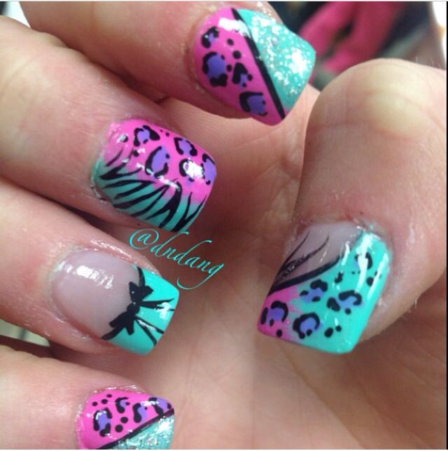 Wild French Tip Nail Designs: Cotton Candy Colored Acrylic Nails ️ ️ ️