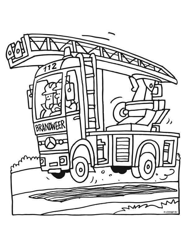 Kinderen Leren Kleurplaat Ladderwagen W O Beroepen Kleurplaten Brandweer En