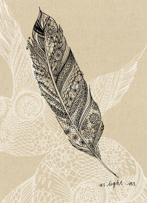Zentangle and Tangles / light as a feather art print by lovelysweetwilliam on Etsy