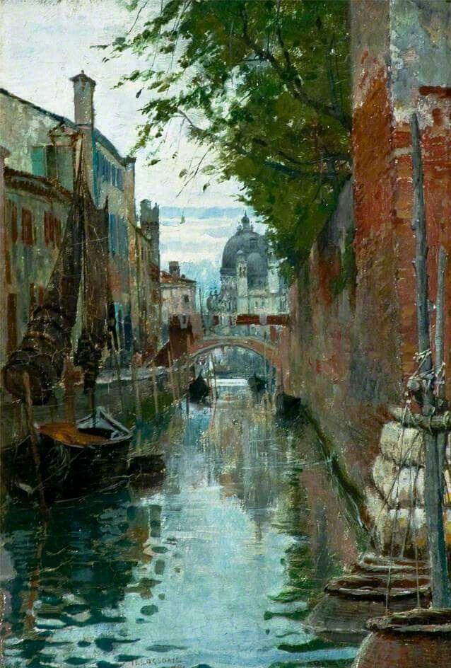 Church of Santa Maria della Salute, Venice - 1885 | William Logsdail #English, 1859-1944 Medium: Painting - oil on panel | Location: Usher Art Gallery - Lincoln  (United Kingdom - Lincolnshire)
