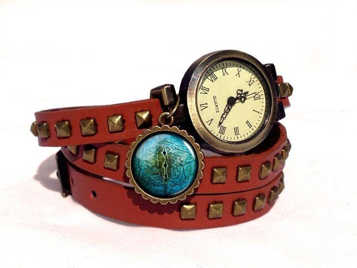 Leather watch bracelet - Lizard Eye, 0100WLBC  from EgginEgg by DaWanda.com