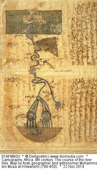 Cartography, Africa, 9th century. The course of the river Nile. Map by Arab geographer and astronomer Muhammad ibn Musa al-Khwarizmi (780-850).
