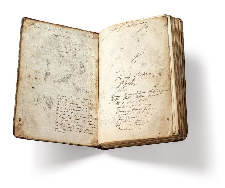 Charlotte Brontë's doodles in her copy of the General Atlas of Modern Geography, circa 1830 -- via The New York Review of Books.