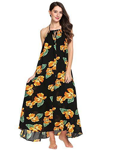 "Product review for Zeagoo Women's Boho Floral Print Long Maxi Dress Casual Backless Beach Sundress.  - Boho Floral Print Dress Spaghetti Strap Casual Summer Beach Long Maxi from Angvns Size Information: US Size S(6)—Suggested Chest—31.9-34.6"";Front Length—51.3"";Center Back Length—41.9""; US Size M(8-10)—Suggested Chest—33.9-36.2"";Front..."