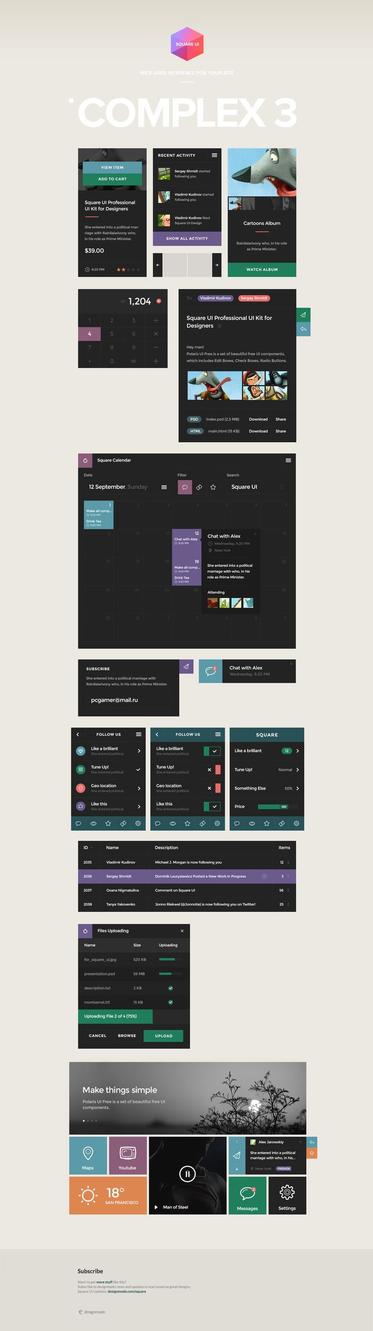 Square UI - Set of beautiful components featuring the flat design trend