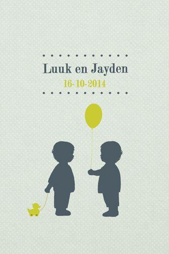 Geboortekaartje Luuk en Jayden - Pimpelpluis - https://www.facebook.com/pages/Pimpelpluis/188675421305550?ref=hl (# tweeling - jongens - ballon - eendje - lief - silhouet - schattig - origineel)