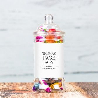 Personalised Sweets Jar For Page Boys Mr And Mrs Range