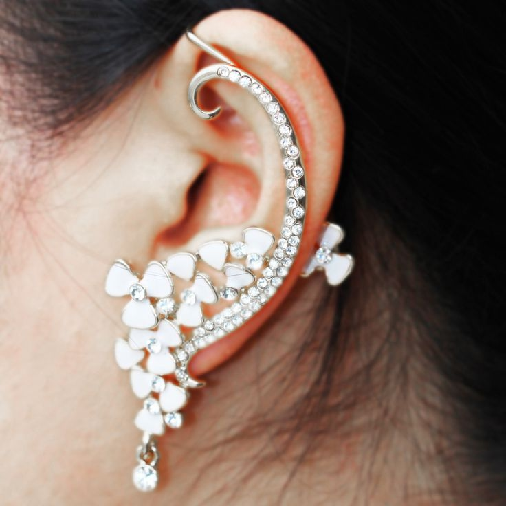 Aliexpress.com : Buy Hot Luxury Rhinestone Ear Cuff Flowers Earring Silver Not Piercing Ear Cartilage Women's Party Statement Ear Clips Jewelry E 08 from Reliable jewelry red suppliers on YouKee Jewellery