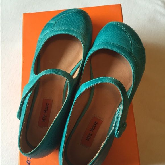 Miz Mooz Aqua flats These darling shoes have only been worn once and are in excellent condition. Comes with box Miz Mooz Shoes Flats & Loafers