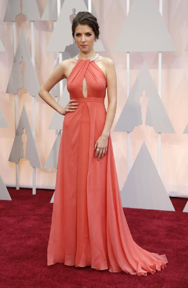 5017f458e7 On Sale Beautiful Dresses 2018 Anna Kendrick Coral Evening Gown 2018 Oscar  Awards Evening Dresses 2018