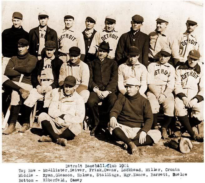 """The Detroit Tigers are the only Western League franchise to stay in their original city, making Detroit the oldest American League team. This photo is of the 1901 Detroit Tigers, the first """"Major League"""" team in Detroit since the National League's Wolverines folded after the 1888 season."""