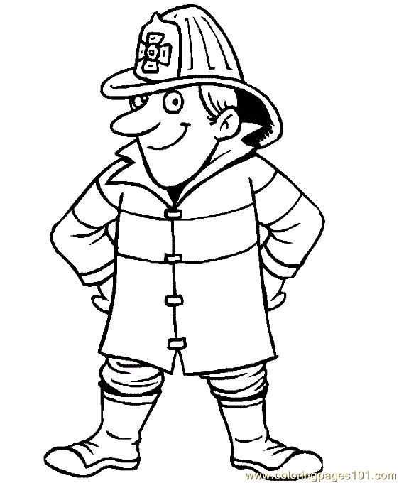 free printable coloring image fireman coloring page 12 - Firefighter Coloring Pages
