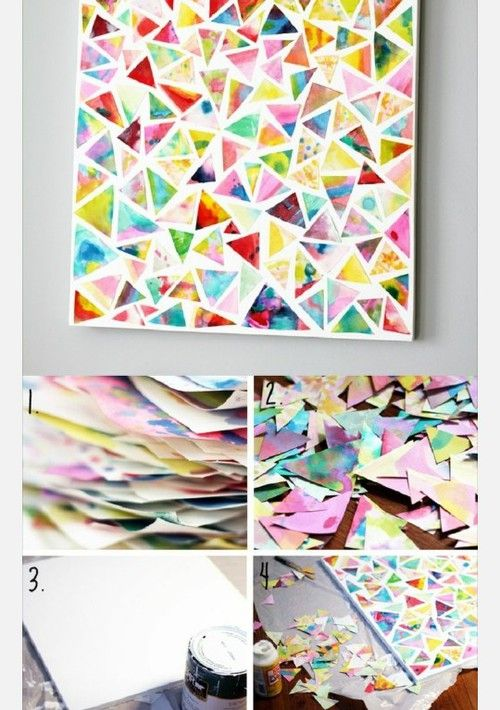 キレイな紙でモザイク風壁掛け作り方