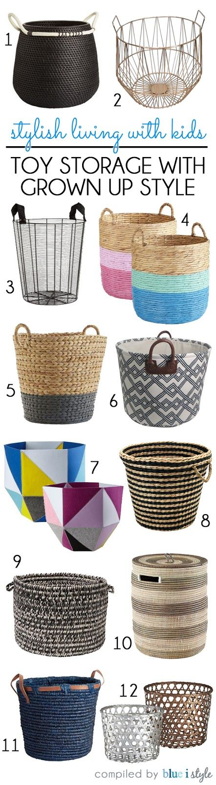 TOY ORGANIZING TIP: Use stylish baskets to hide kids' toys in plain sight! If the baskets match the style of the room, they seem to fit right in despite the toys spilling out of the top.
