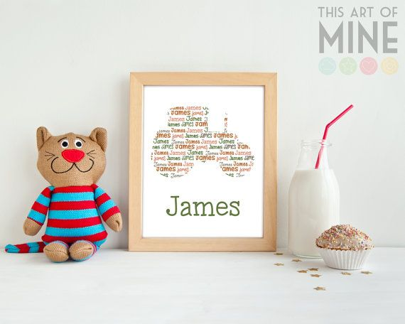 One for the machinery and farm lovers. Team this personalised tractor name print with some farm animal decor for a cute boys room.