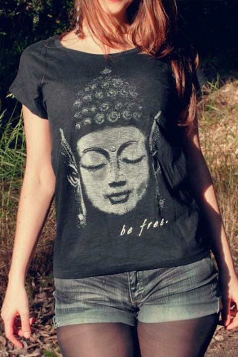 Buddah - woman t-shirt spiritual new age yoga trance zen tshirt scoop neck slub spirit shirt cool tee 2013 S M L XL on Etsy, $22.00