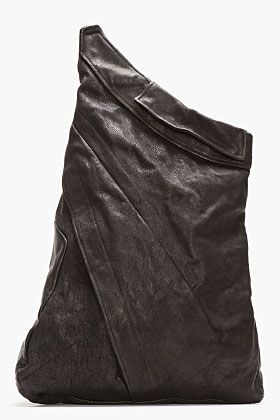 Julius Black Buffalo Leather One-shoulder Backpack for men | SSENSE