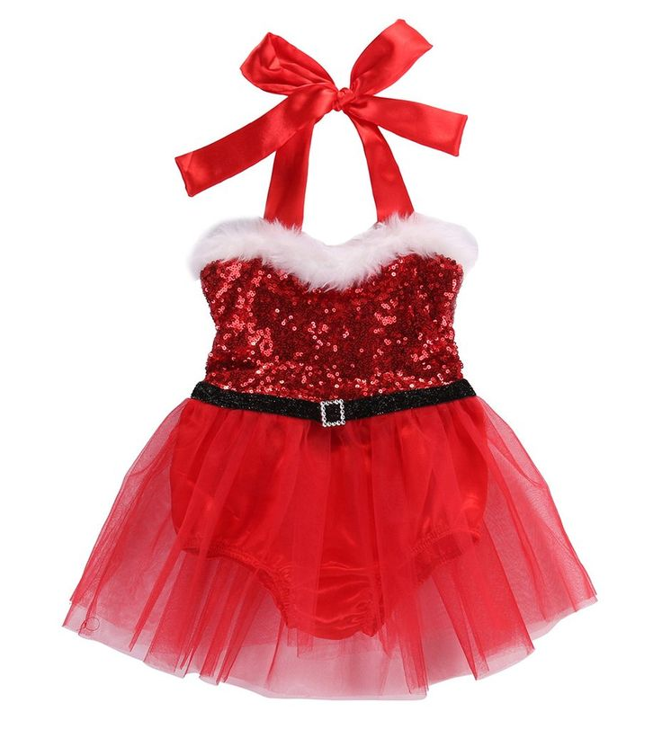 Santa Baby Sequin Christmas Romper with Tulle Skirt - Red – Angora Boutique