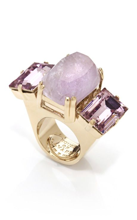 jeweled knot purple amethyst oversized cocktail ring