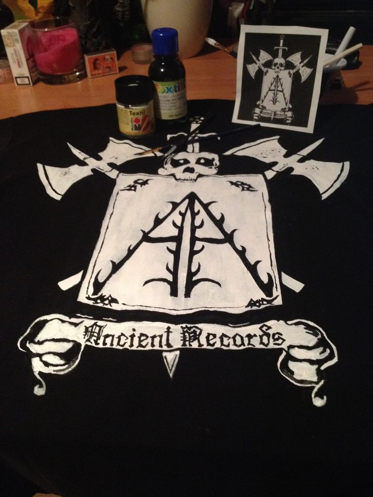 Handpainted *on request* t-shirt Black on white detailing on white stenciled base design. pre-washed black cotton t-shirt
