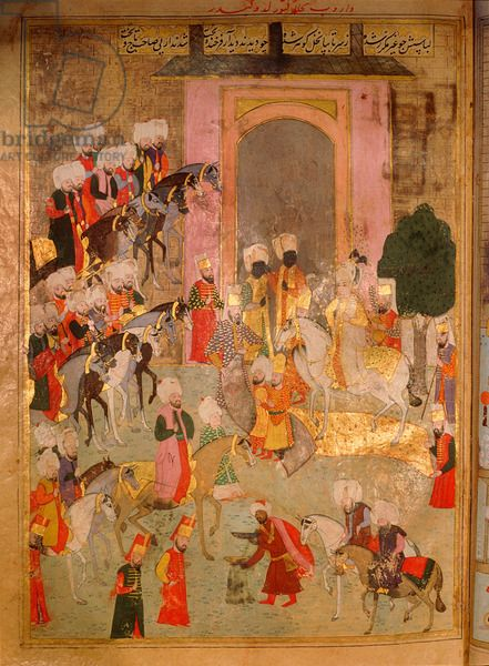 Sahansahname, a chronicle of Ottoman Sultans-Episodes from the circumcision ceremonies of the future Mehmed III, in 1582 The departure of the prince's party from the Eski Saray