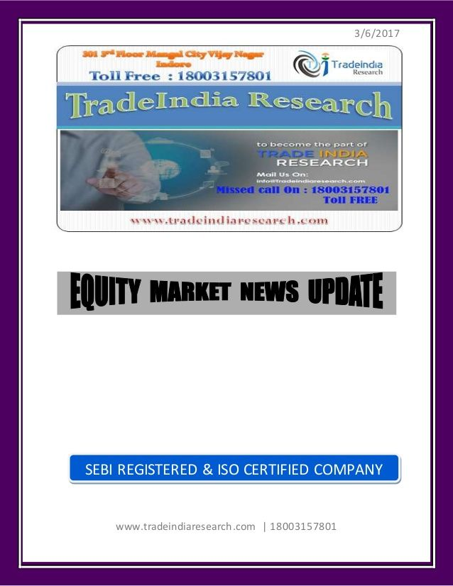 Stock Market Weekly Prediction for 6-10 March 2017 TradeIndia Research https://www.tradeindiaresearch.com