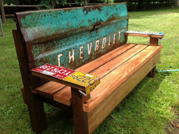 This year - hit the dump! You never know what you'll find! Check out this cool bench someone made with a discarded truck tailgate.
