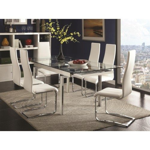 Coaster Modern Dining Contemporary Dining Room Set With Glass Table - Coaster Fine Furniture