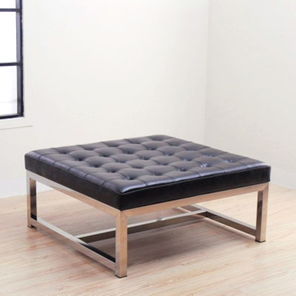 Liberty Large Black Leather Ottoman Overstock Shopping