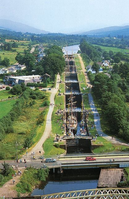 Neptune's Staircase is comprising eight locks on the Caledonian Canal. Built by Thomas Telford beteeen 1803 and 1822, it is the longest staircase lock in Britain.