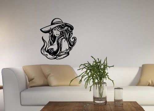 wall vinyl decal sticker art design woman in hat with long hair spa nail beauty salon