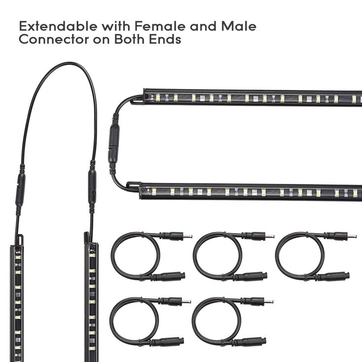 6pcs LED Under Cabinet Lighting Kit, Extendable Under Counter LED Light Bar 3000K, Manual Switch