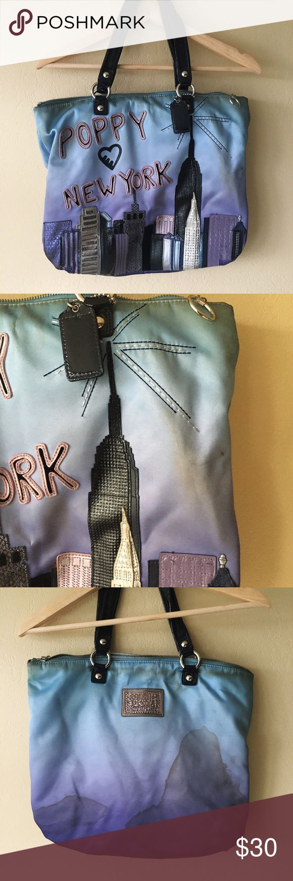 💎NYC skyline Coach Bag💎 🌃Poppy 💗's NYC Coach Bag. ***bag has stain damage, please see photos for details*** I love this bag but can't get the stains out. Maybe you can? Very open to offers on the beauty🌃                                                     🚫🚬Smoke Free Home 🚬🚫 ✨💌Quick Shipping 💌✨ 💲✔️Offers Welcome✔️💲 ‼️Bundle Discounts‼️ Coach Bags Shoulder Bags