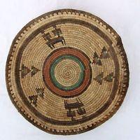 "Southwestern Native American Style Coil Woven Symbolic Decor Basket Bowl 13"""