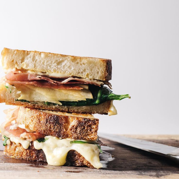 apple, prosciutto, + gruyere grilled cheese.