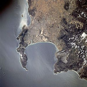 Cape Town as seen from Space. The Stellenbosch area (where the CS Forum will actually be held) is also visible.