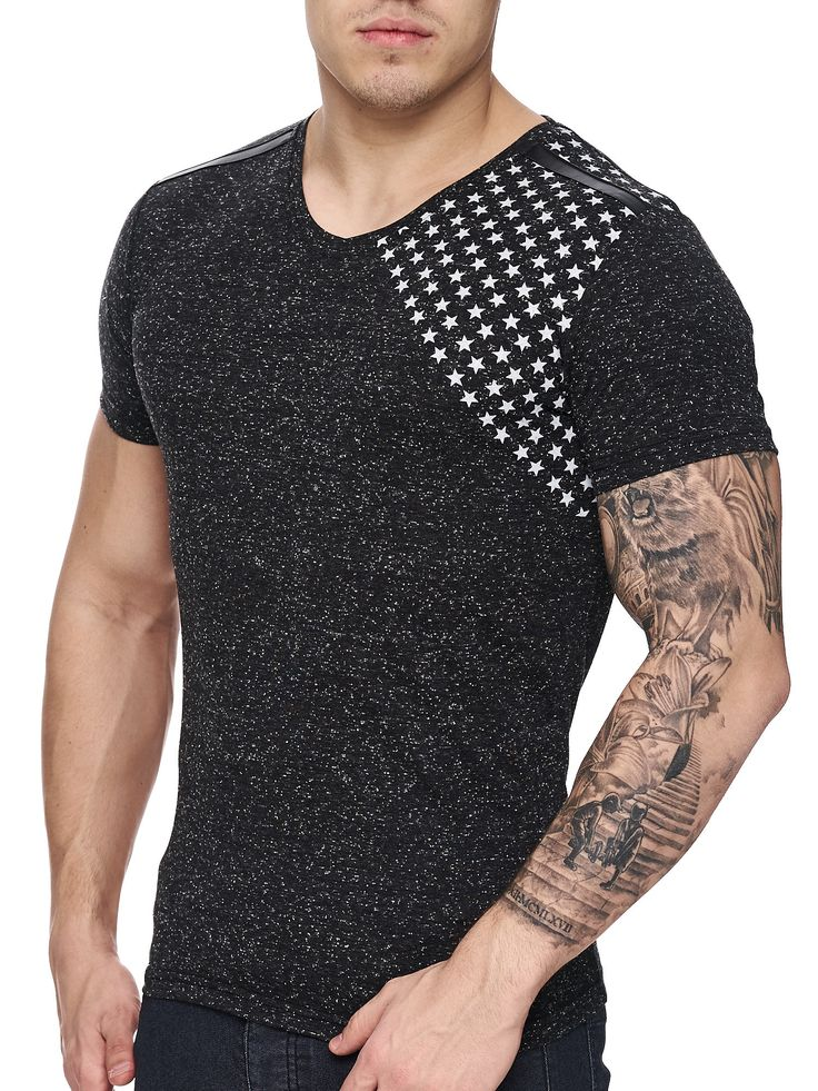 K&D Men Corner Stars Faux Leather Band V-Neck T-shirt - Black