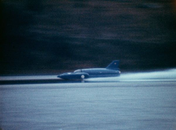 "Donald Campbell and Bluebird K7 at high speed on Coniston Water in 1967 ~ ""Donald Malcolm Campbell, CBE (23 March 1921 – 4 January 1967) was a British speed record breaker who broke eight world speed records in the 1950s and 1960s. He remains the only person to set both world land and water speed records in the same year (1964)."""