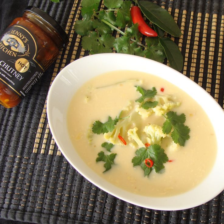 Thai Tamarind Coconut and Cauliflower Soup.  All those beautiful Thai flavours in one bowl. Coconut, Kaffir Lime, Coriander, Chilli, and of course a hint of Tamarind to bring balance and a depth of flavour. http://jennyskitchen.co.nz/blog/thai-tamarind-coconut-and-coriander-soup/