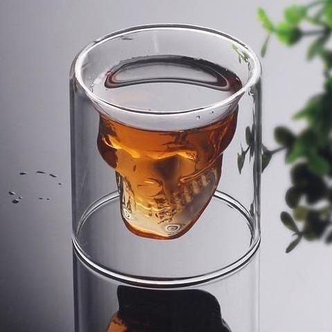 Skull Shot Glass Set  - Double Wall Transparent Crystal Skulls  4pcs/set