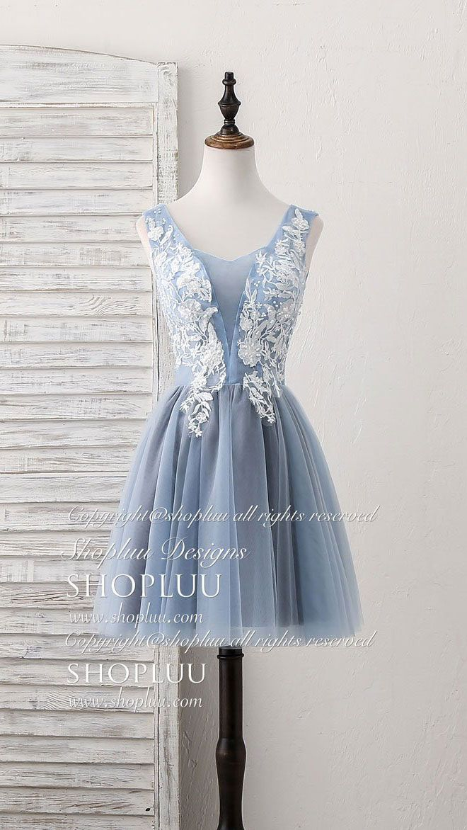 92ee41a7686 Cute blue v neck tulle lace applique short prom dress