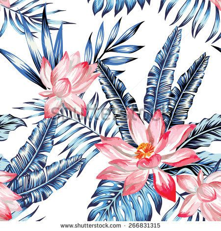 Floral fashion tropic wallpaper with leaves of banana palm in a trendy blue style. Pink lotus flower  hand drawn watercolor, on white background. Print hawaii jungle seamless vector pattern
