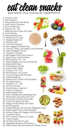 Eat Clean Snacks. A list of 50 healthy food snacks to consider for your diet plan. This is sure to help you lose weight.